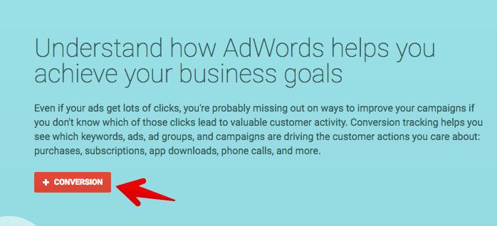 create a conversion in adwords
