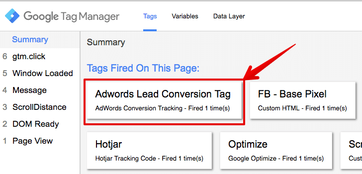 adwords conversion tag testing