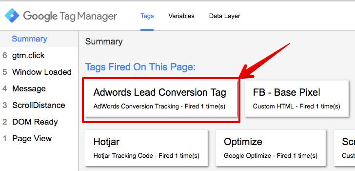 adwords conversion tag testing