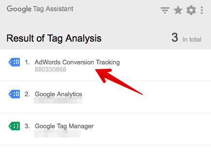 google tag assistant check conversion tag