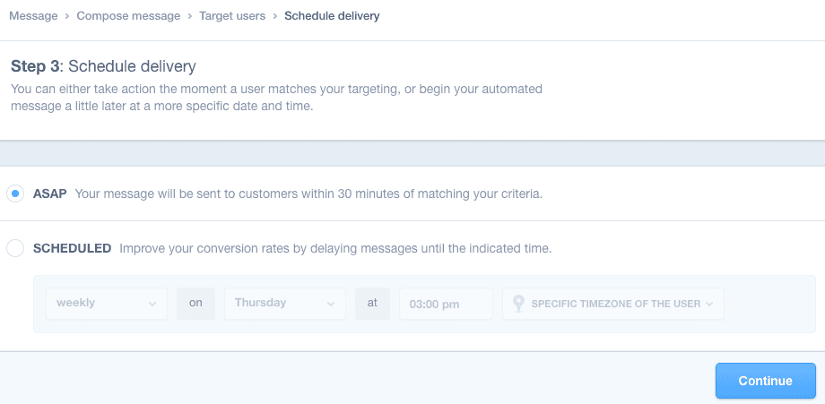 schedule mixpanel message