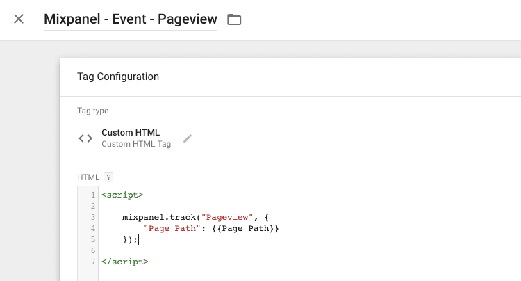 mixpanel pageveiw tag
