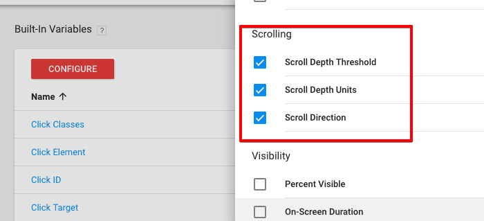 enable scrolling variables