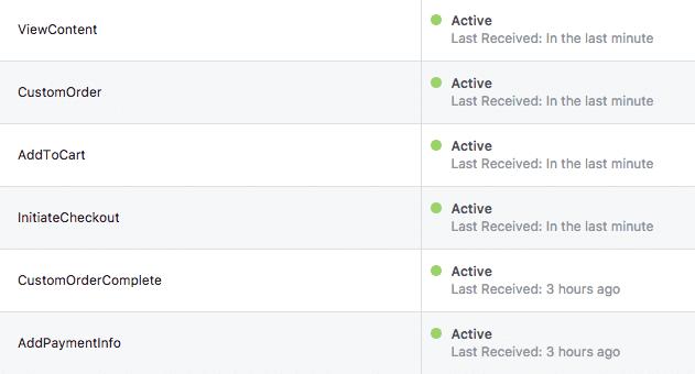 facebook pixels list