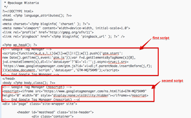 addin gtm code in wordpress