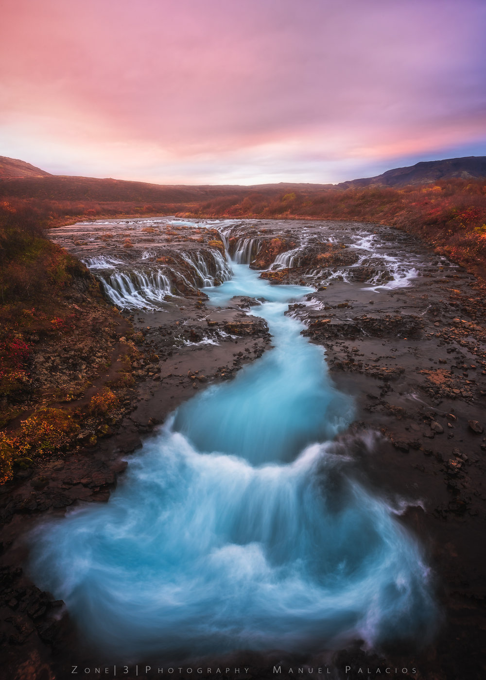 Dancing in Blue, Bruafoss Iceland.