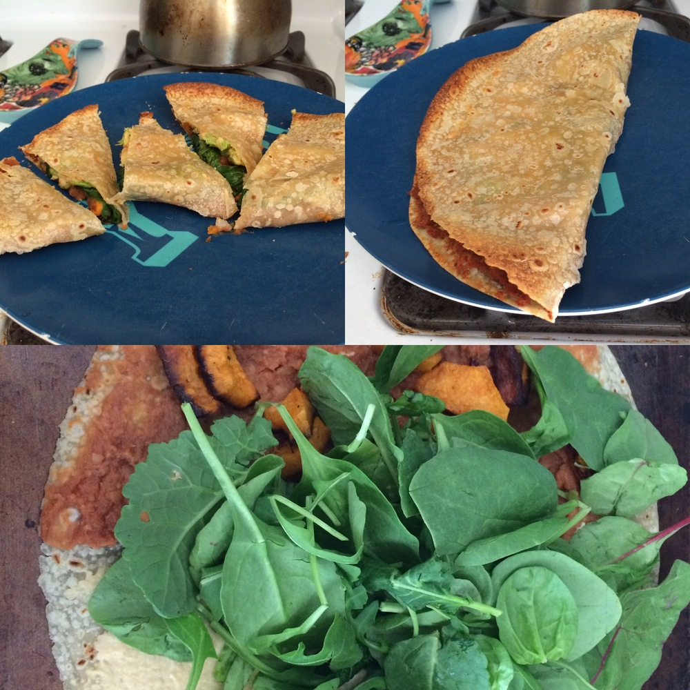@PVDdoula post of cheese-less quesadillas. Refried beans, hummus, sweet potatoes, artichoke hearts and Trader Joe's Power Greens.