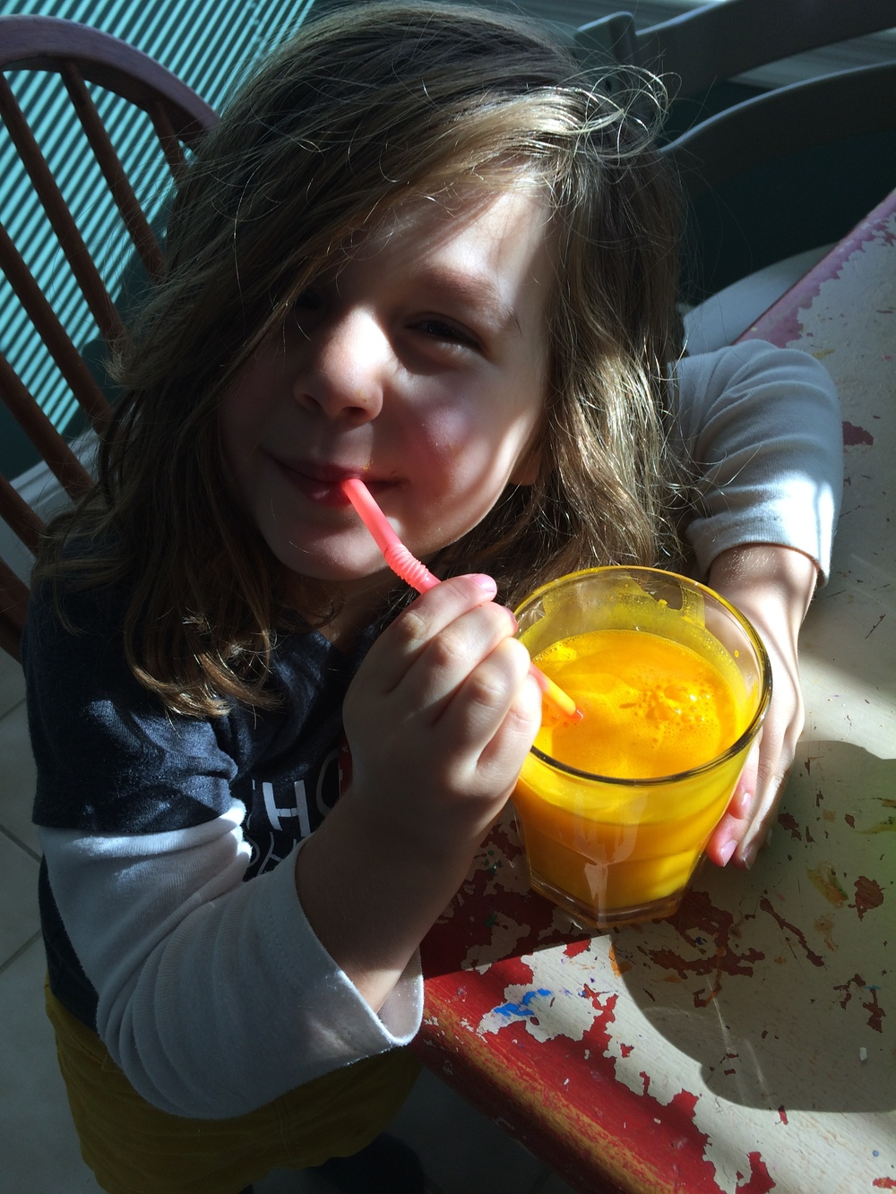 Judah and her fancy curcumin drink.