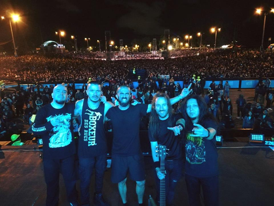With Carnivore Diprosopus at Rock Al Parque, July 2017. Bogotá, Colombia