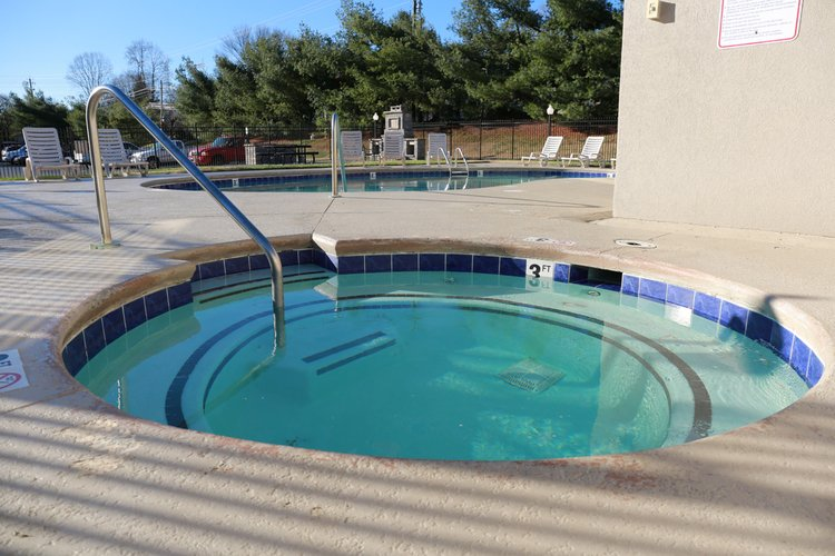 Our six-person hot tub is open year round to residents.