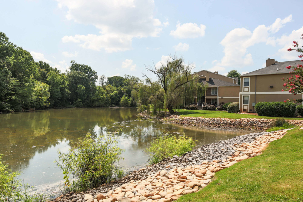 Our apartment home community features a 2-acre, spring-fed lake. Residents enjoy walking or jogging on the paved path around the lake and strolling along the trails in the woods. The lake is also stocked for fishing.