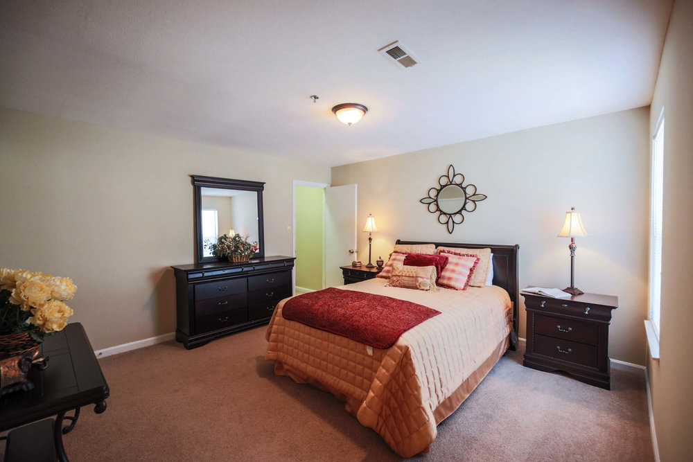 All master bedrooms include deep walk-in closets and connected bathrooms with granite counter tops.