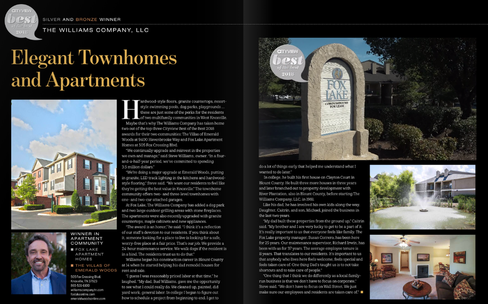 Fox Lake was voted Top 3 Best of the Best 2018 Apartment Communities in Knoxville by CityView Magazine readers.
