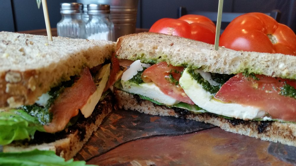 Caprese vegetarian sandwich.