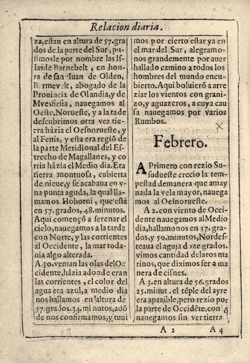 Diario de viajes (Travel Journal) Le Maire & Shouten, 1616.