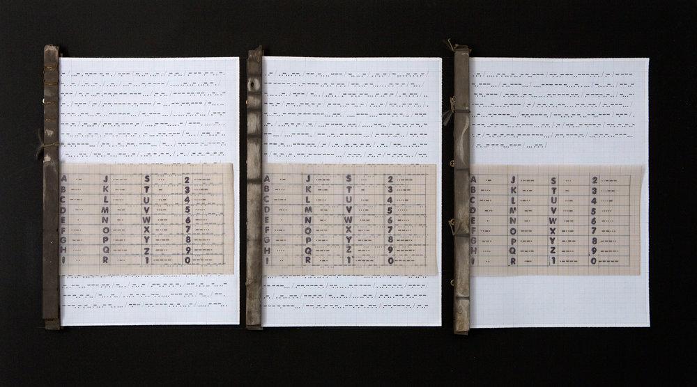 "EL DESCUBRIMIENTO DEL CABO DE HORNOS, 2016.  Traducción al código morse de las palabras recogidas de la bitácora de viajes cuando descubren el paso del cabo de Hornos.  grafito sobre papel milimetrado, 40 x 70 cm.                          Normal   0       21       false   false   false     ES-TRAD   JA   X-NONE                                                                                                                                                                                                                                                                                                                                                                               /* Style Definitions */ table.MsoNormalTable {mso-style-name:""Tabla normal""; mso-tstyle-rowband-size:0; mso-tstyle-colband-size:0; mso-style-noshow:yes; mso-style-priority:99; mso-style-parent:""""; mso-padding-alt:0cm 5.4pt 0cm 5.4pt; mso-para-margin:0cm; mso-para-margin-bottom:.0001pt; mso-pagination:widow-orphan; font-size:12.0pt; font-family:Cambria; mso-ascii-font-family:Cambria; mso-ascii-theme-font:minor-latin; mso-hansi-font-family:Cambria; mso-hansi-theme-font:minor-latin;}       The discovery of Cape Horn, 2016.     Morse code translation of the words of Jacob Le Maire and Guillermo Schouten collected from the travel journey when they discover the passage of Cape Horn. graphite on graph paper. 40 x 70 cm."