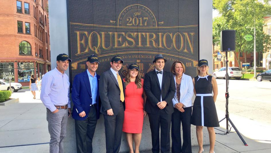 Finley (pictured second from left) joined Equestricon founders Justin Nicholson, Kathryn Sharp and Dan Tordjman at the convention-launch announcement last September. Advisory board members Graham Motion (far left) and Anne Poulson (far right), as well as Saratoga Springs Mayor Joanne Yepsen (second from right), were also present for the announcement of the first ever international horse racing convention.