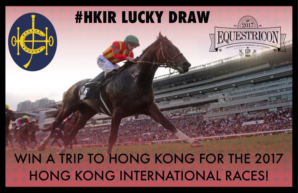 Sample entry card that attendees will receive at Equestricon. By simply filling out the back of the card and tweeting  that they have entered the #HKIR Lucky Draw, attendees over the age of 18 will have a chance to win an all-expenses paid trip to Hong Kong for HKIR this December.