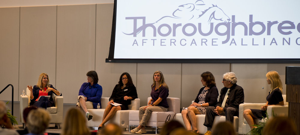 "Heads of TAA-accredited organizations discuss new careers for OTTBs in Equestricon 2017's ""Aftercare Pathways"" panel, with Acacia Courtney moderating (Eclipse Sportswire)"