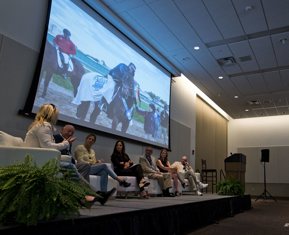 "Panelists discuss some of their aftercare organizations' biggest successes at the ""OTTB Success Stories"" panel at Equestricon 2017, moderated by Soledad O'Brien (Eclipse Sportswire)"