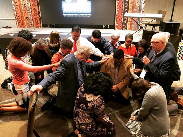 Pastor Gerry Lopez became our Associate Director this year, and our Children's Ministries pastors laid hands on him today in reverence and dedication this morning. We are so thankful you're on our team, @prgerrylopez! May God continue to use you! #childmintreat19