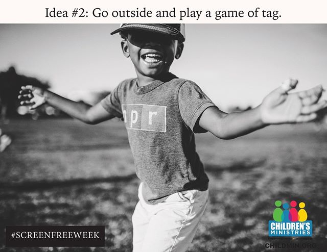 "Aren't you just so excited that #SCREENFREEWEEK is coming up on April 29- May 5? I bet you are! Here's an idea that might seem a little ""old school"" but is always fun. If you can't go outside, try playing ""Sardines"" indoors too!"