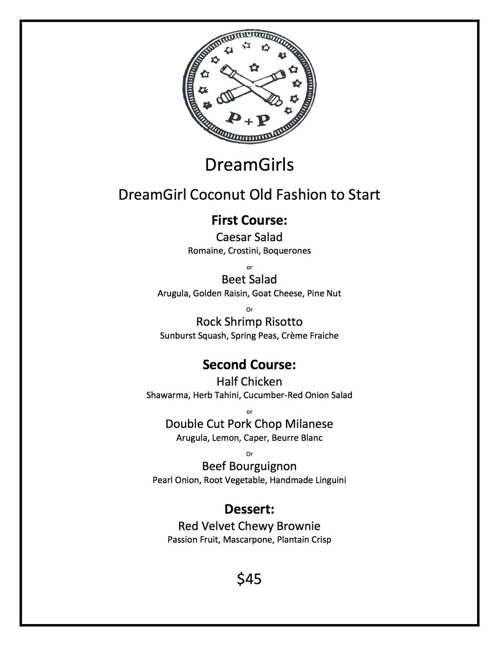 Dream girls Pre-Theater Prix Fixe Menu