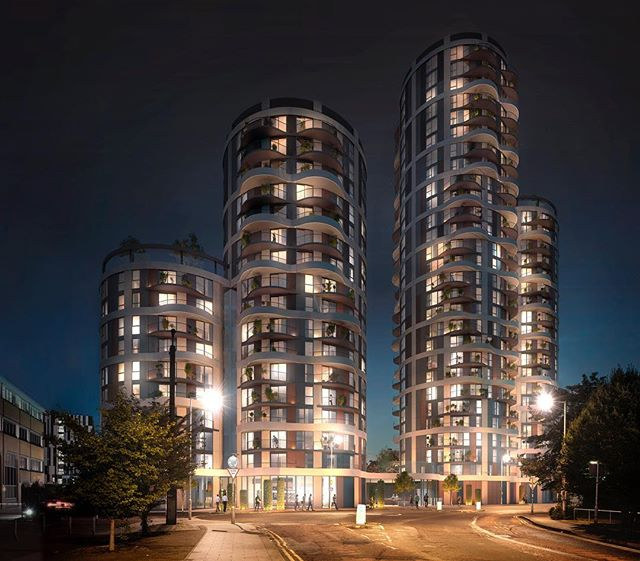 360 Barking London images for #nuliving #visualisation #cgi #property #nighttime #render #3dsmax #coronarender