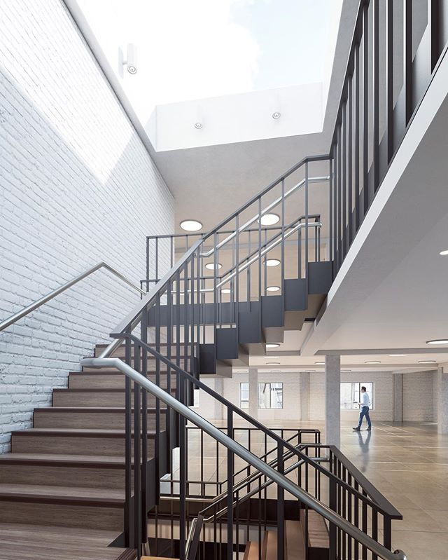 Office fitout #emptyspace #stairdetail #visualisation #render #cgi #instarender #lighting #handrail #lightwell #stairs