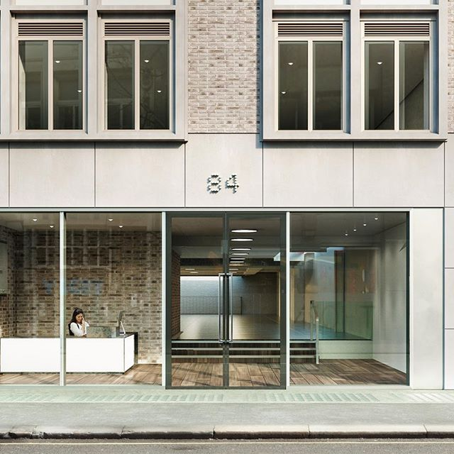 Open plan office floor 84 Great Portland Street London #office #coronarender #reception #visualization #archviz #architecture #interior #office