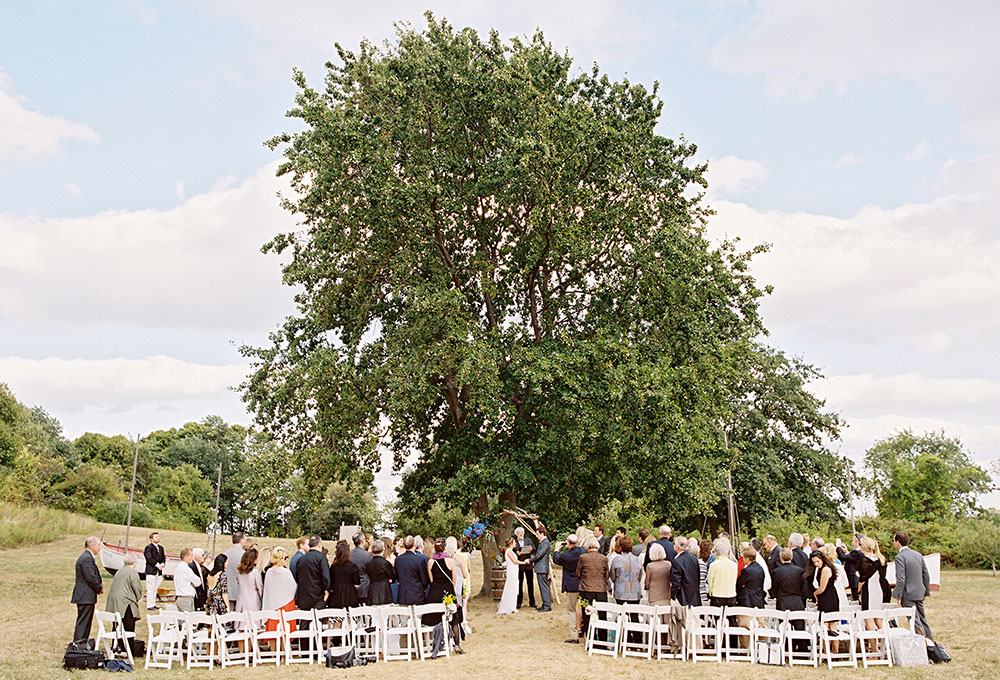 thompson island outdoor ceremony under a tree