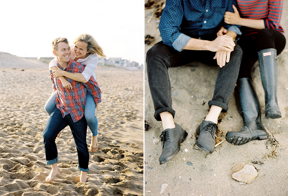 photos of couples on the beach with hunters boots