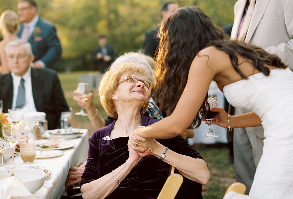 meaningful moment between bride and grandma
