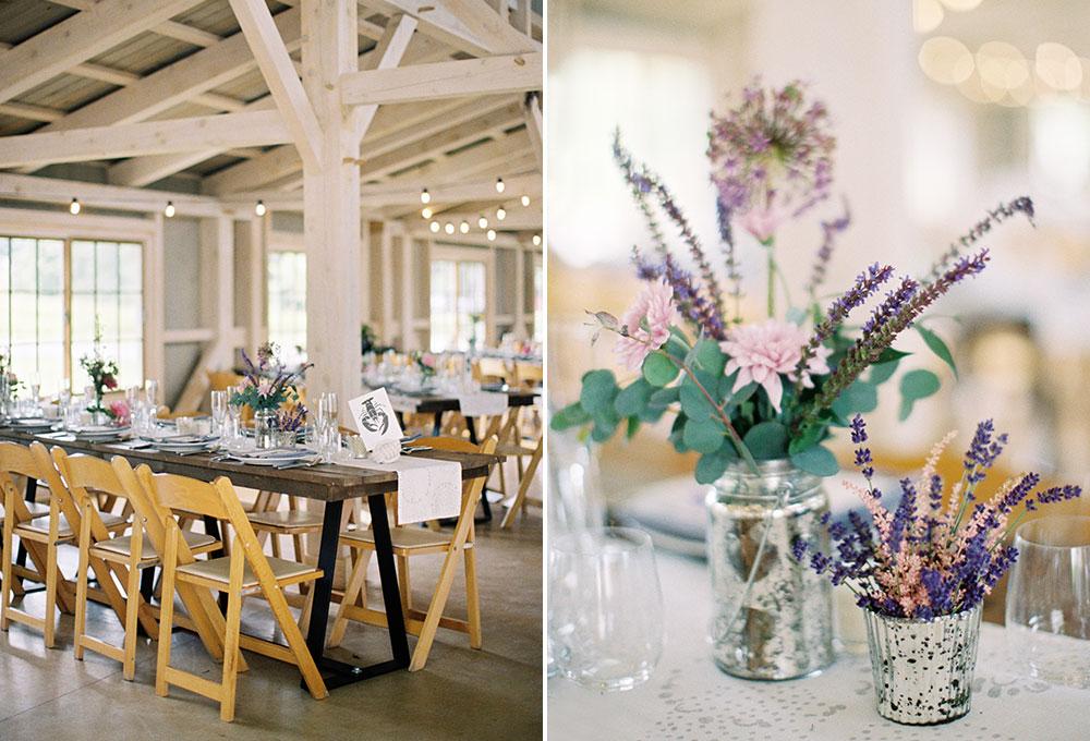 indoor barn reception details with custom letterpress menu