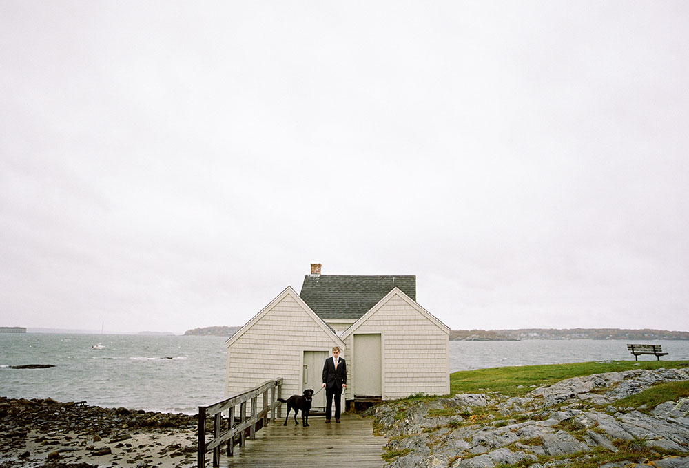 willard beach elopement in the rain