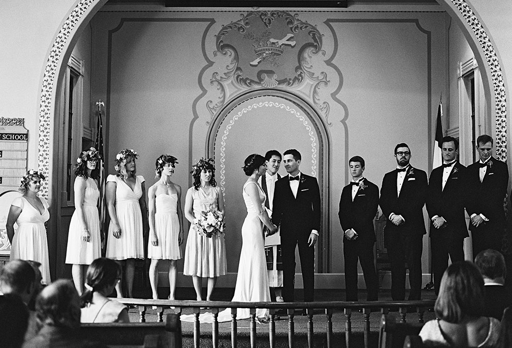 black and white photo of church ceremony