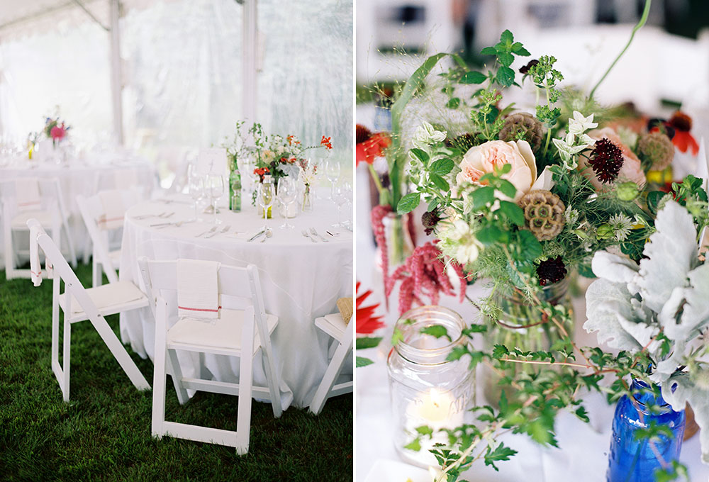 colorful summer reception in parents' backyard