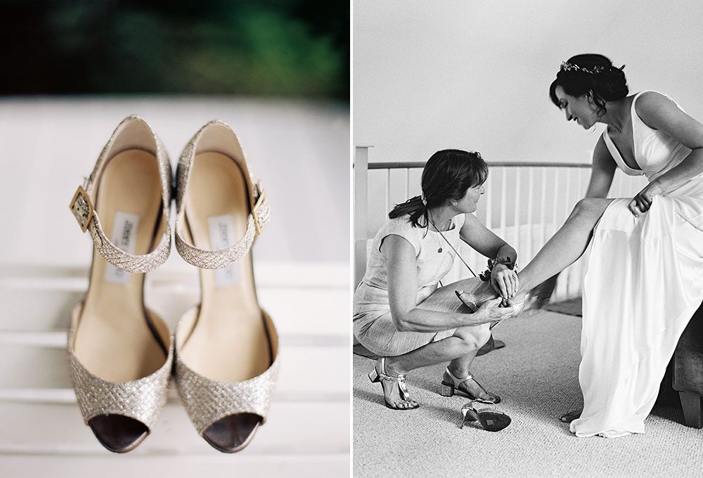 bride wears gold sparkly jimmy choo shoes