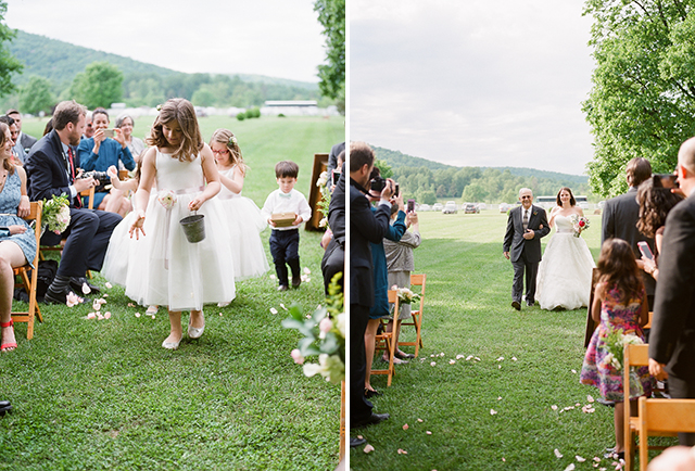 bride walks to outdoor ceremony site