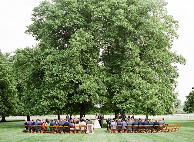 outdoor wedding ceremony space under a tree in a field