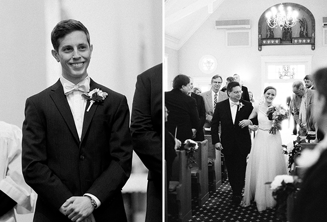 groom sees bride walk down aisle - Sarah Der Photography