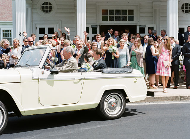 vintage car exit from church ceremony - Sarah Der Photography