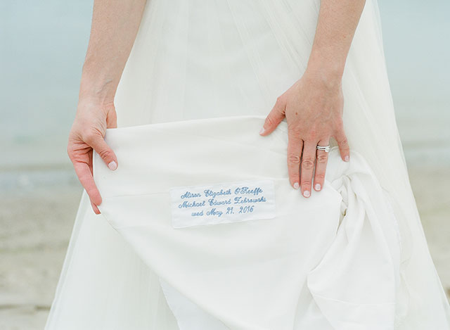 custom embroidery on bridal gown - Sarah Der Photography