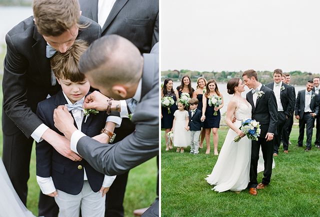 ring bearer wearing a striped bow tie - Sarah Der Photography