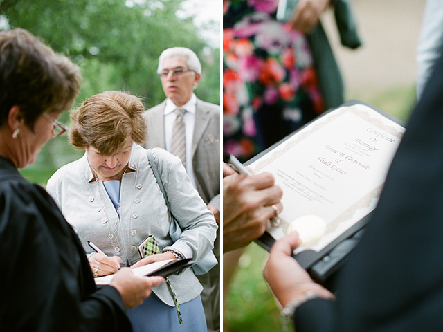 mothers sign the marriage certificate