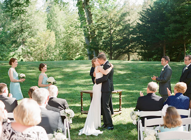 first kiss during ceremony - Sarah Der Photography
