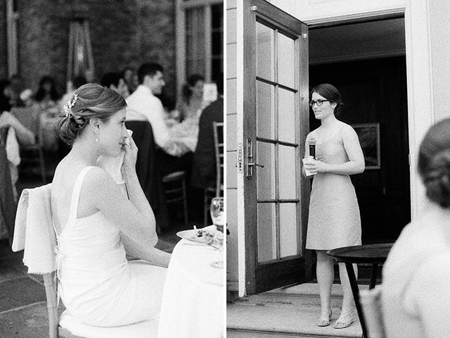 black and white photos of maid of honor giving toast - Sarah Der Photography