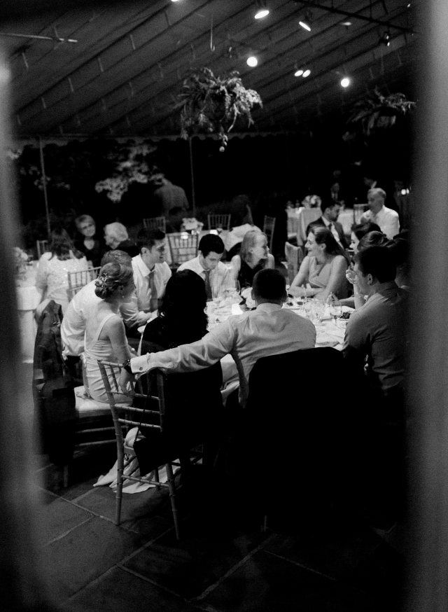 intimate outdoor candlelit reception shot on black and white film - Sarah Der Photography