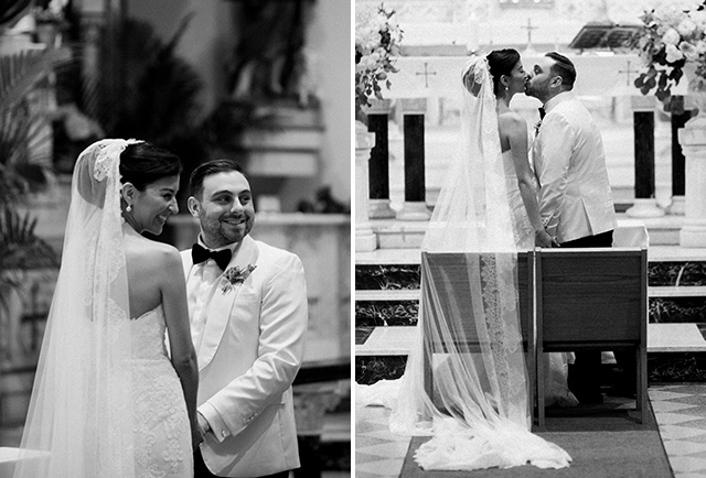 Black and white images of traditional church wedding ceremony - Sarah Der Photography