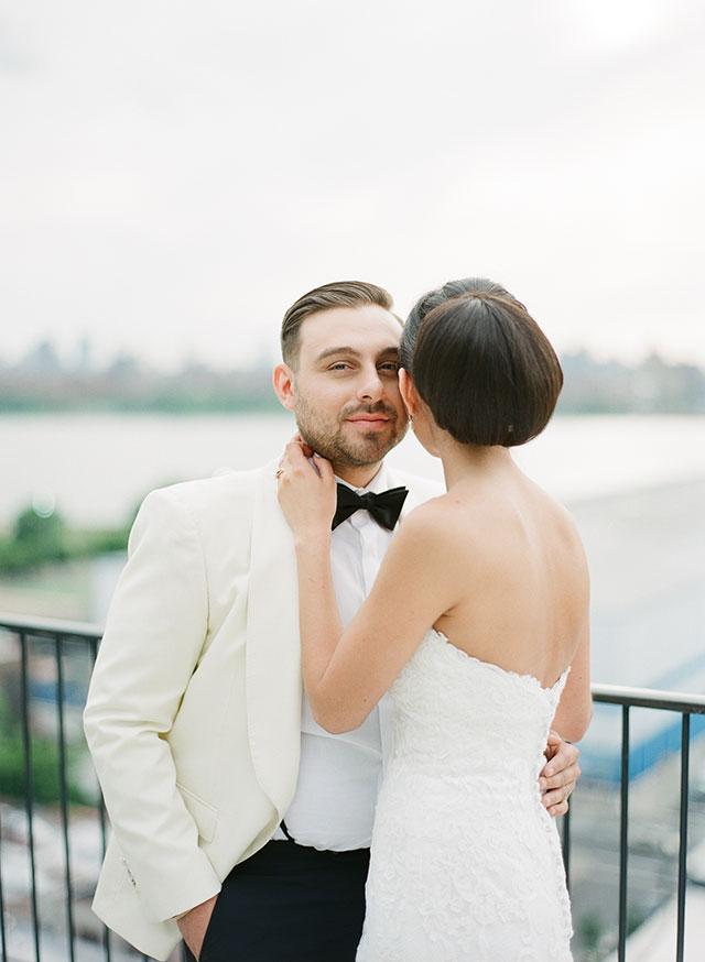 skyline wedding portrait of couple shot on fuji film - Sarah Der Photography